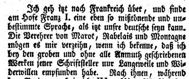 Seine Majestät verkannten nicht nur die deutsche Literatur. Rabelais und Marot hielt er für mißtönend und langweilig