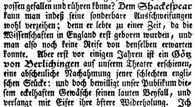 Über Shakespeare und Goethe