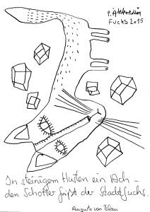 Text Auguste von Blau, Zeichnung Petrus Akkordeon