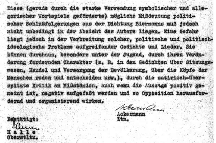 Abteilung Agitation: Kritische Einschätzung 72 Lieder, Gedichte und Balladen. Lyrik von Wolf Biermann, vom 23. Dezember 12964 Quelle: BStU, MfS, AOP, 11806/85, Bd. 5, Blatt 141