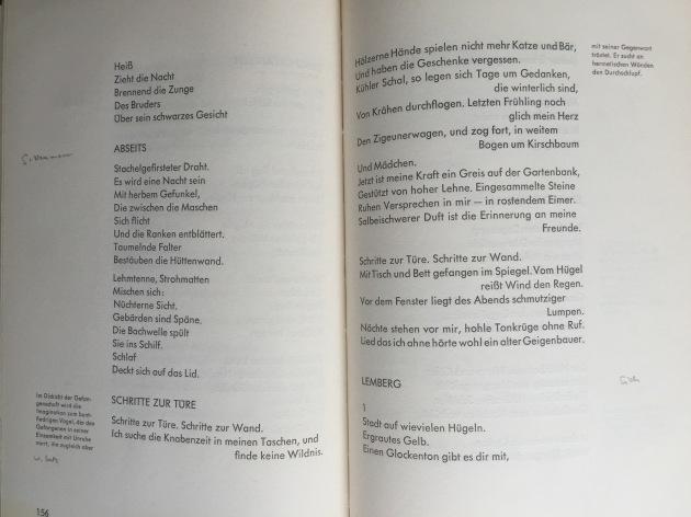"""Das Gedicht """"Schritte zur Tür"""" von Werner Lutz in der Anthologie """"Transit"""" von 1956 mit Walter Höllerers Randbemerkung (und meiner Handschrift, die die Autornamen eintrug)"""